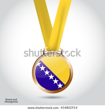 Bosnia and Herzegovina Flag in Bronze Medal. Olympic Game Bronze Medal. Vector Illustration - stock vector