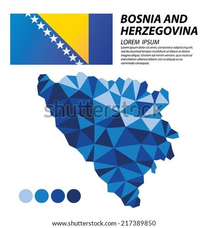 Bosnia and Herzegovina geometric concept design - stock vector