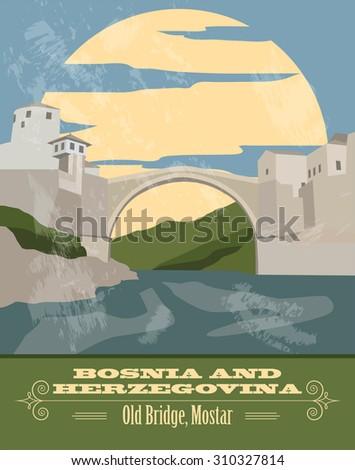 Bosnia and Herzegovina landmarks. Retro styled image. Vector illustration - stock vector