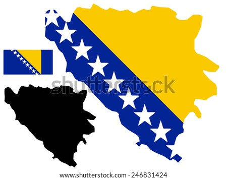 Bosnia and Herzegovina map and flag vector - stock vector