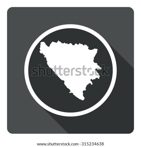 Bosnia and Herzegovina map dark sign icon. Country map geography symbol. Gray flat Bosnia and Herzegovina button with long shadow. Vector icon map of Bosnia and Herzegovina on dark background. - stock vector