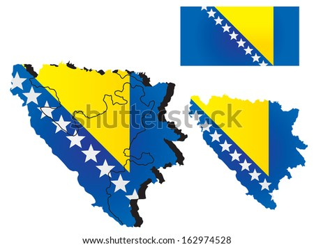 Bosnia and Herzegovina map with flag - stock vector