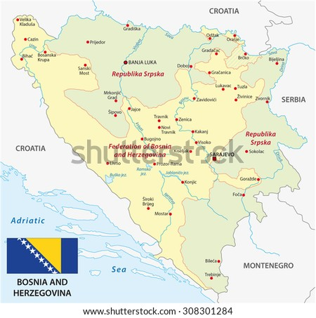 Bosnia Herzegovina Map Stock Vector Shutterstock - Bosnia and herzegovina map
