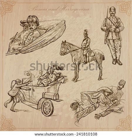 BOSNIA AND HERZEGOVINA (set no.2 - Franz Ferdinand). Collection of an hand drawn vector illustrations.Each drawing comprise three layers of lines, background is isolated.Editable in layers and groups. - stock vector