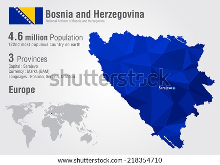 Bosnia world map with a pixel diamond texture. World geography.