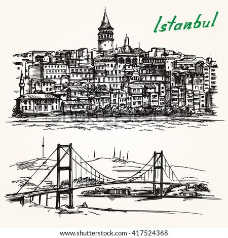 Bosporus Bridge. Hand drawn set. Istanbul, Turkey. Galata district. - stock vector