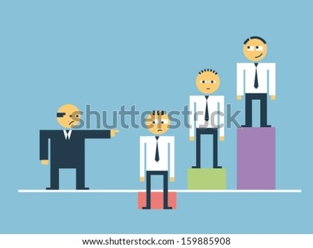 Boss abuse his subordinate for his low efficiency - stock vector