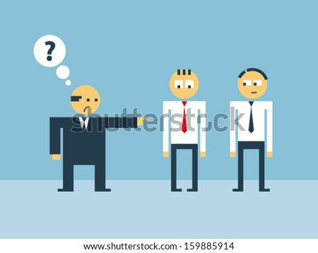 Boss abuse his subordinate for violation of dress code - stock vector