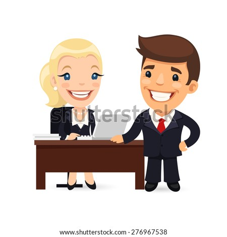 Boss and Secretary Planning Business Day. Isolated on white background. - stock vector