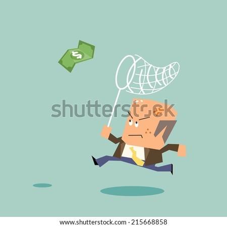 Boss chasing money. Flat vector illustration - stock vector