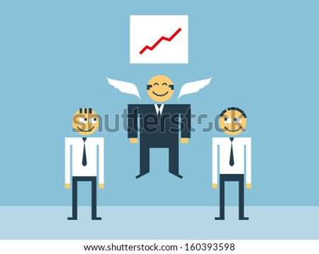 Boss extremely happy with the achievements of subordinates shown in the form of a growing graph - stock vector