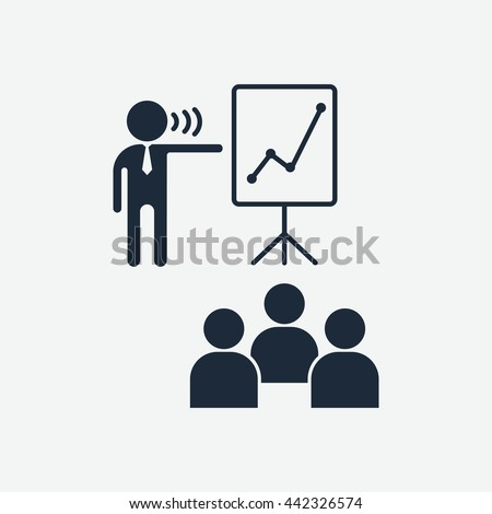Boss praises team. Flip chart for presenation. Education and management icons. Cartoon flat vector illustration. Objects isolated on a white background. - stock vector