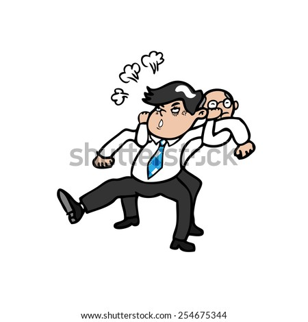 Boss pull angry businessman from his back  - stock vector