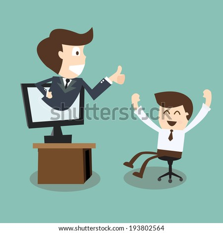 boss showing thumb up in monitor screen to employee - stock vector