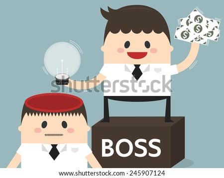 Boss Stealing Idea from employee, flat design, business concept - stock vector