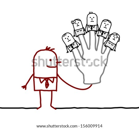 boss with five puppets employees on fingers - stock vector