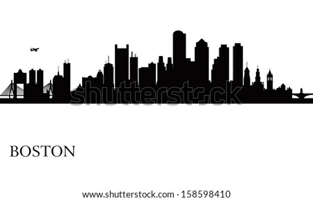 Boston city skyline silhouette background. Vector illustration - stock vector