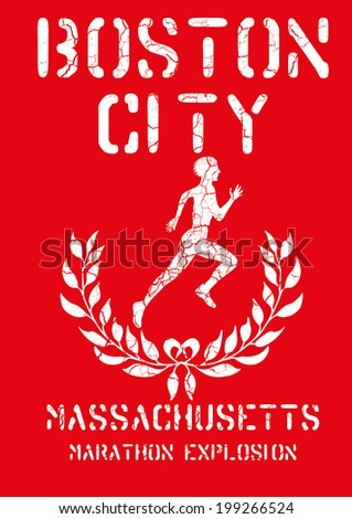 boston marathon vector art - stock vector