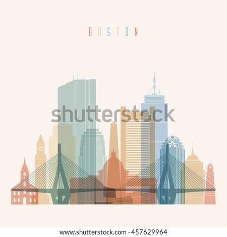 Boston Massachusetts city skyline silhouette. Transparency style poster. Vector illustration. - stock vector