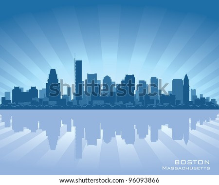 Boston skyline illustration with reflection in water