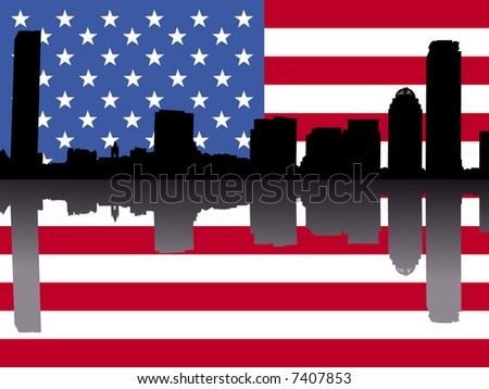Boston skyline reflected with American flag illustration - stock vector