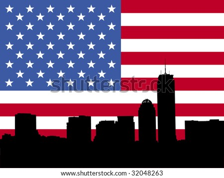 Boston skyline with American flag illustration - stock vector