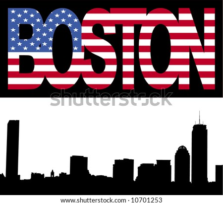 Boston skyline with Boston flag text illustration - stock vector
