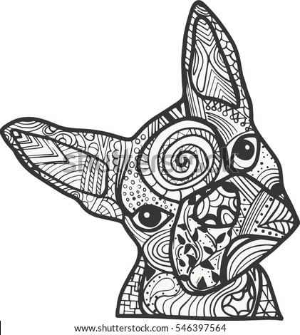 boston terrier or french bulldog doodle coloring page in black and white - Boston Terrier Coloring Page