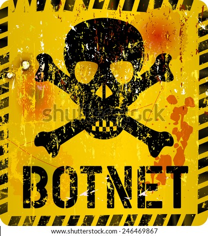 bot net infection warning sign,grungy style, vector illustration