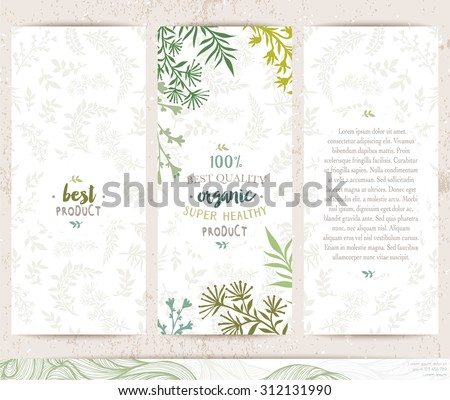 Botanical banners collection. Organic eco products cards. Vector hand drawn illustration - stock vector