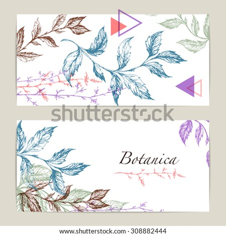 Botanical Floral banner collection. Organic shop card, natural cosmetic design. Vector illustration, wedding invitation template - stock vector