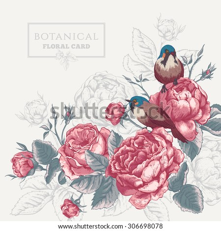 Botanical floral card in vintage style with blooming english roses and birds, vector illustration on gray background - stock vector