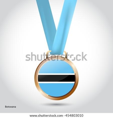 Botswana Flag in Bronze Medal. Olympic Game Bronze Medal. Vector Illustration - stock vector