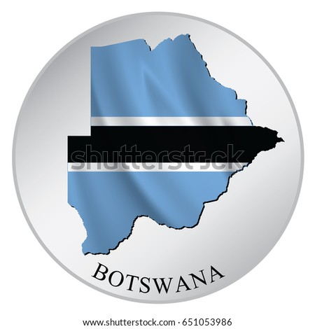 Botswana vector sticker with flag and map label round tag with country name
