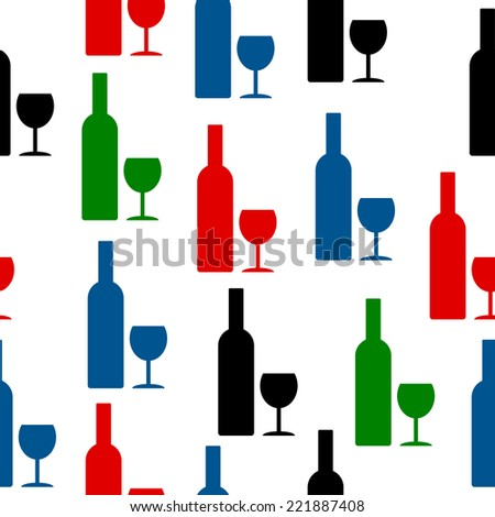 Bottle and glass icon seamless pattern on white background. Vector illustration.