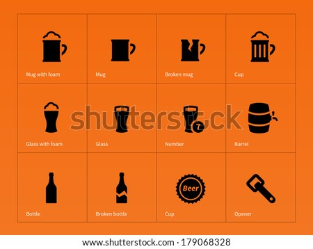 Bottle and glass of beer icons on orange background. Vector illustration. - stock vector