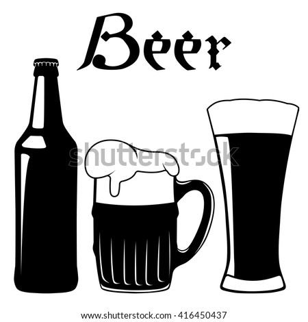 Bottle and glass of beer. Vector illustration
