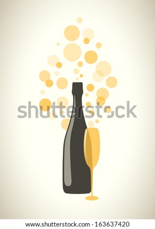 Bottle and glass of champagne with transparent bubbles on grey background. Vector version. - stock vector