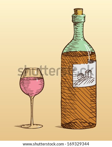 bottle and glass of wine.  - stock vector