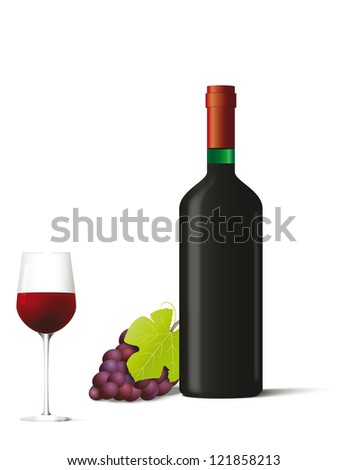 Bottle and glass with red wine and berries. Vector illustration