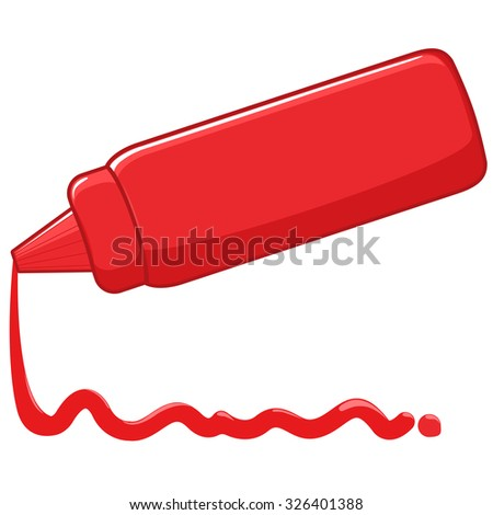 Bottle and spilled sauce of tomato ketchup. - stock vector