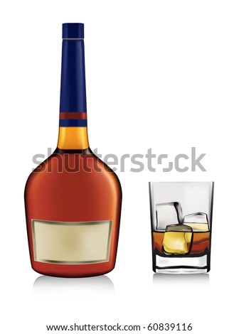 Bottle and whiskey in glass. Vector.