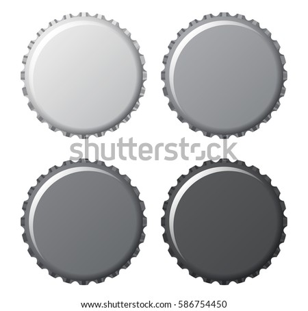 bottle caps in grey and black isolated on white background, vector illustration