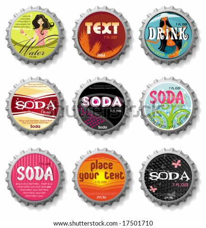 bottle caps 3 - vector set.  To see similar, please VISIT MY GALLERY. - stock vector