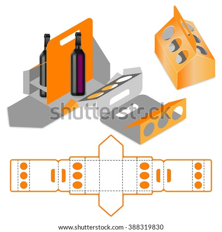 Bottle Carrier Box, Die Cut Template, Carry On Protective design, die-stamping layout pattern, folding, ready handle - stock vector