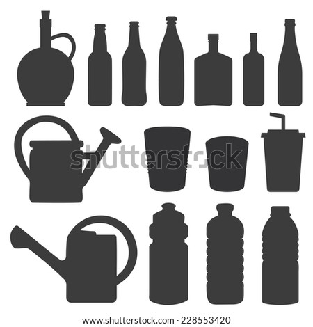 Bottle collection - vector silhouette - stock vector