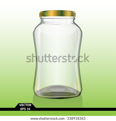 Bottle glass clear curve gold cap vector illustration for product design.