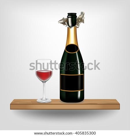 Bottle green wine and glass on wood shelf on white background, Vector illustration - stock vector