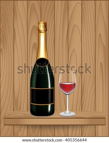 Bottle green wine and glass on wood shelf, Vector illustration - stock vector