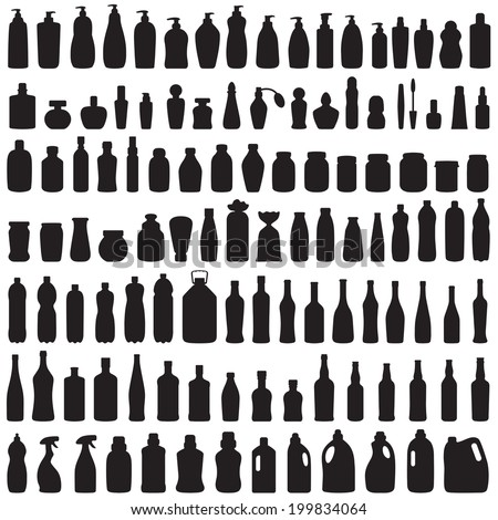 bottle icon collection,  vector isolated silhouette of package,  - stock vector